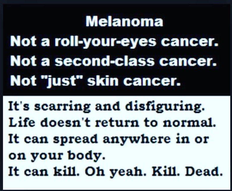 During days when social media is full of 'funny' (really?) sunburn pics, we'd do well to remember #melanomacankill https://t.co/lGhOpE2HNg
