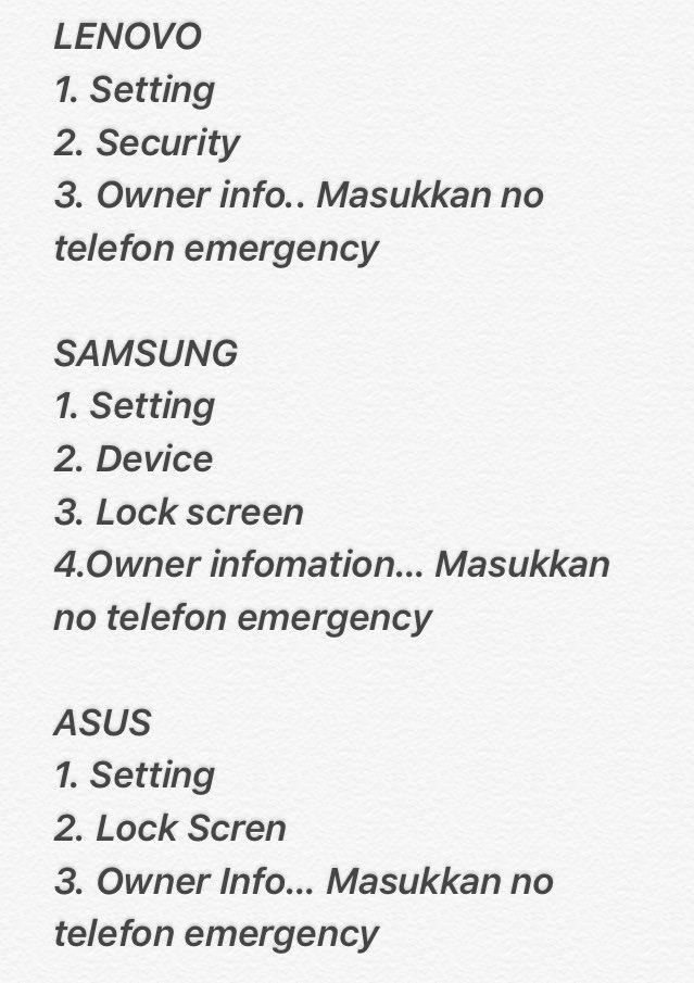 Incase kalau kita berlaku kemalangan, org blh call pewaris even phone LOCK. #emergencycall Pls RT mesti ramai x tahu https://t.co/aame0Nhite