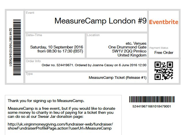 Whoop whoop! We've just secured tickets for @MeasureCamp in September. How fast did they go this time @peter_oneill? https://t.co/2i8d7OILV0