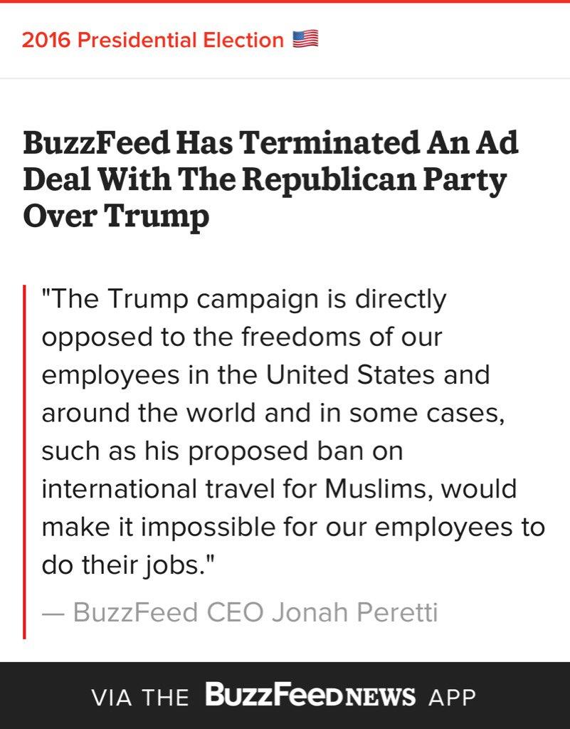 BuzzFeed Terminates Ad Deal With Republican Party Over Trump https://t.co/QAekZ9DLki #nevertrump #gop https://t.co/Onq4Z9x3uC