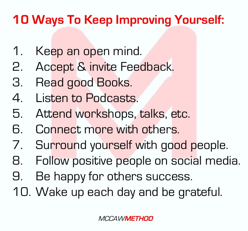 "Keep Improving Yourself: Allistair McCaw On Twitter: ""10 Ways To Keep Improving"