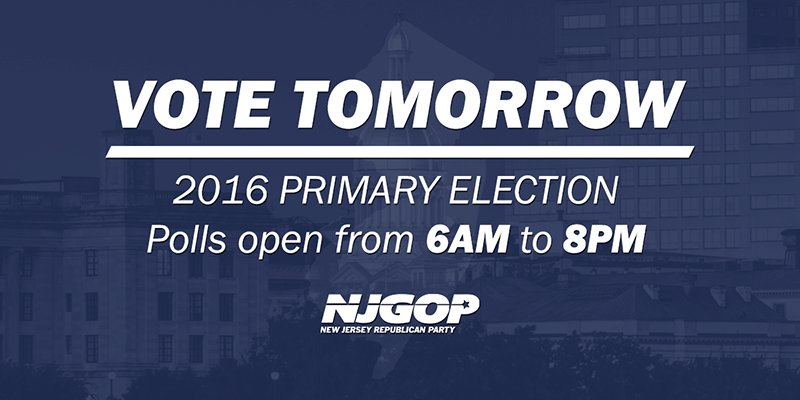 Tomorrow is the Republican Primary Election across NJ! Polls are open from 6AM to 8PM. #vote https://t.co/livu5BzCPW https://t.co/LrGMWqAoJo