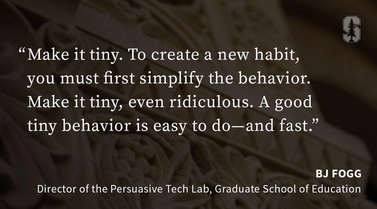 via @StanfordEd: How can we make good habits stick? Start with baby steps. https://t.co/tSKJxlAWAk https://t.co/WS8DOMr4jk #growthmindset