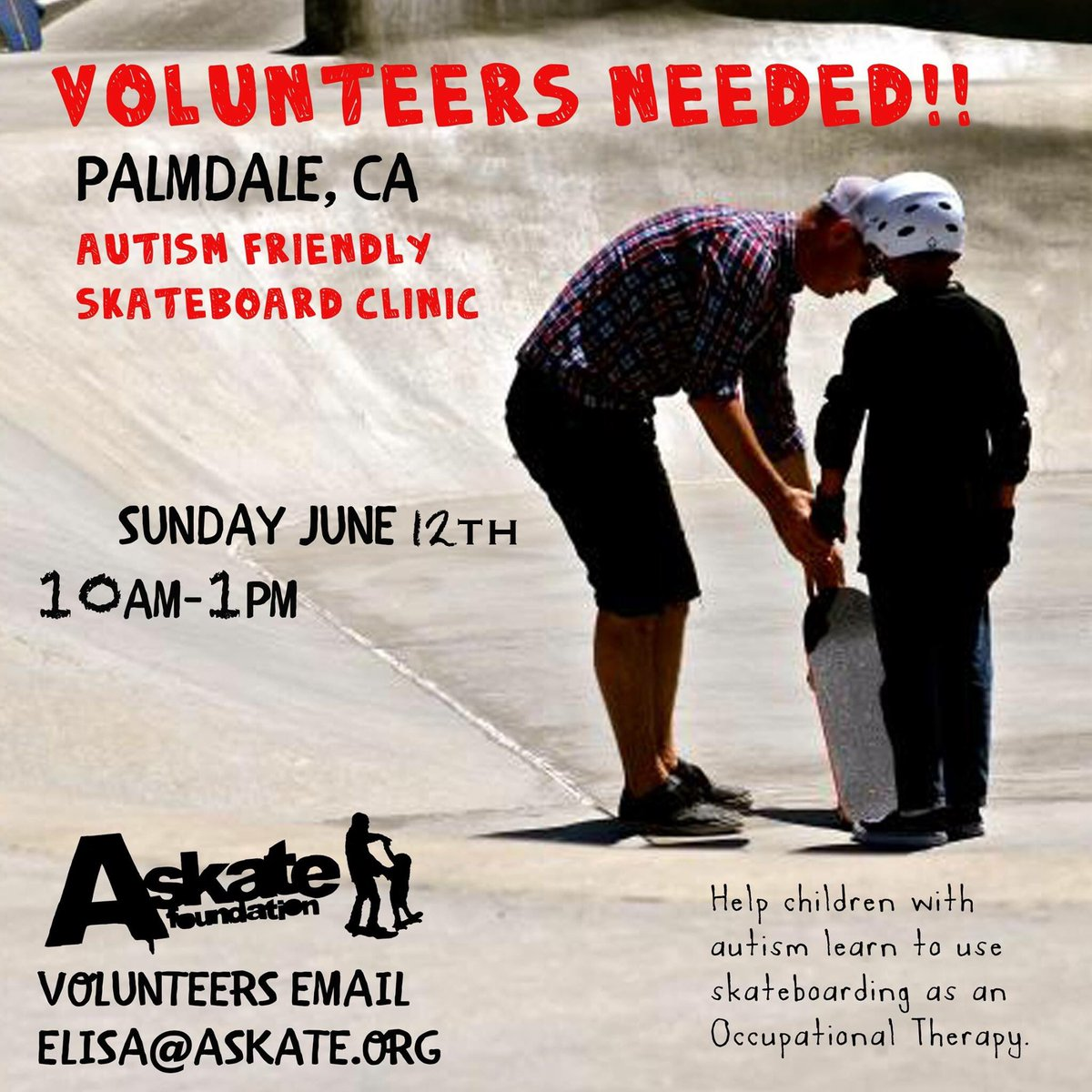 @vansskate Please help! In need of 20 volunteers! Please repost & help us Spread the word!#Autism #Skateboarding https://t.co/VxlW1w2Anp