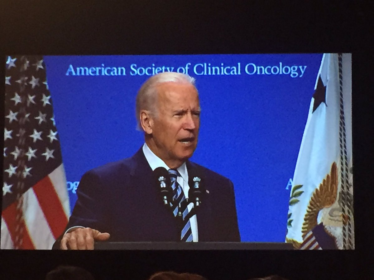 """VP @JoeBiden urges #ASCO16 attendees to """"double the rate of ending cancer as we know it"""" https://t.co/RjroFo9frU"""