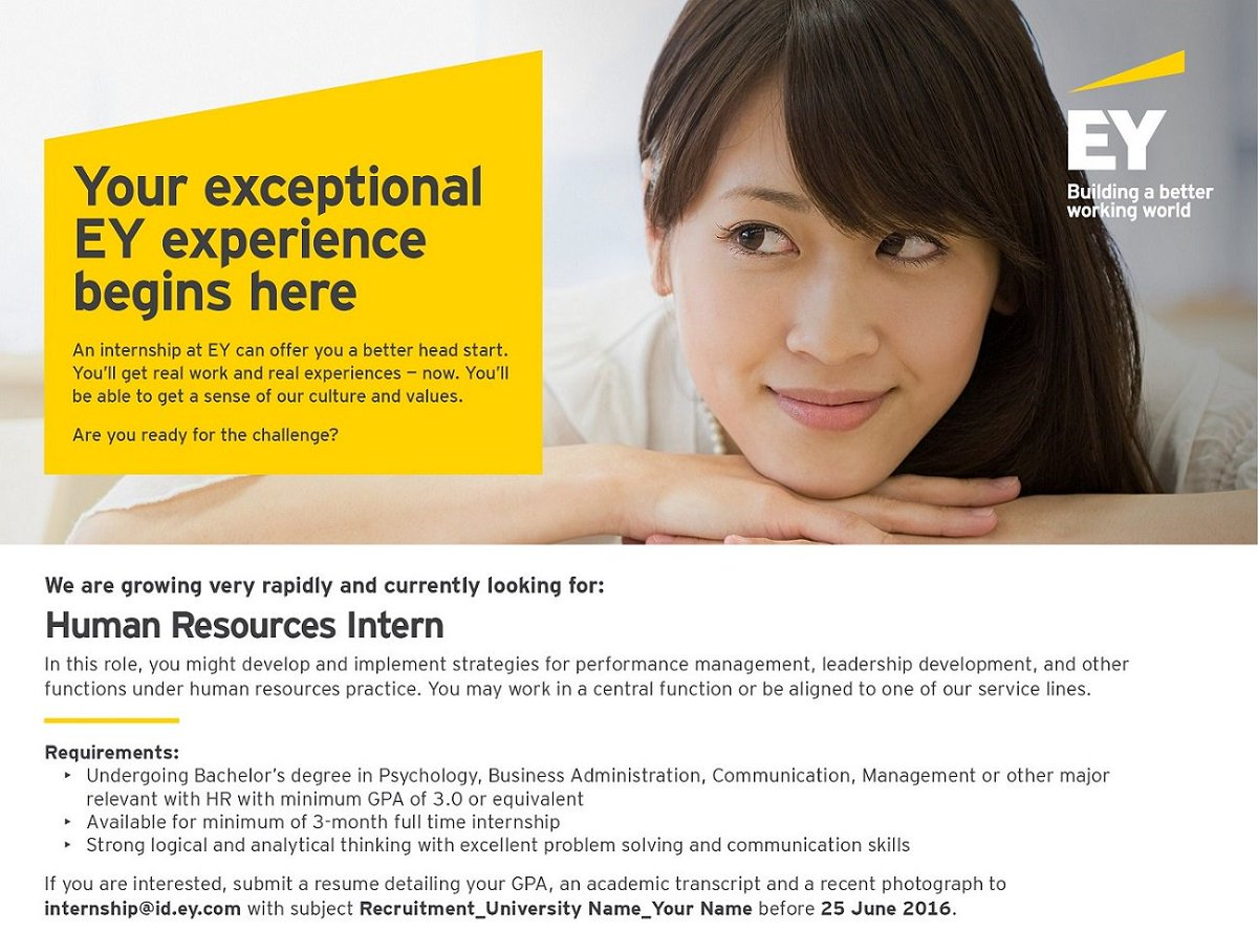 "EY Indonesia on Twitter: ""Interested in an internship opportunity at EY? Apply now! We are looking for HR intern. #BetterBeginsNow https://t.co/E1EmjjmARe"""