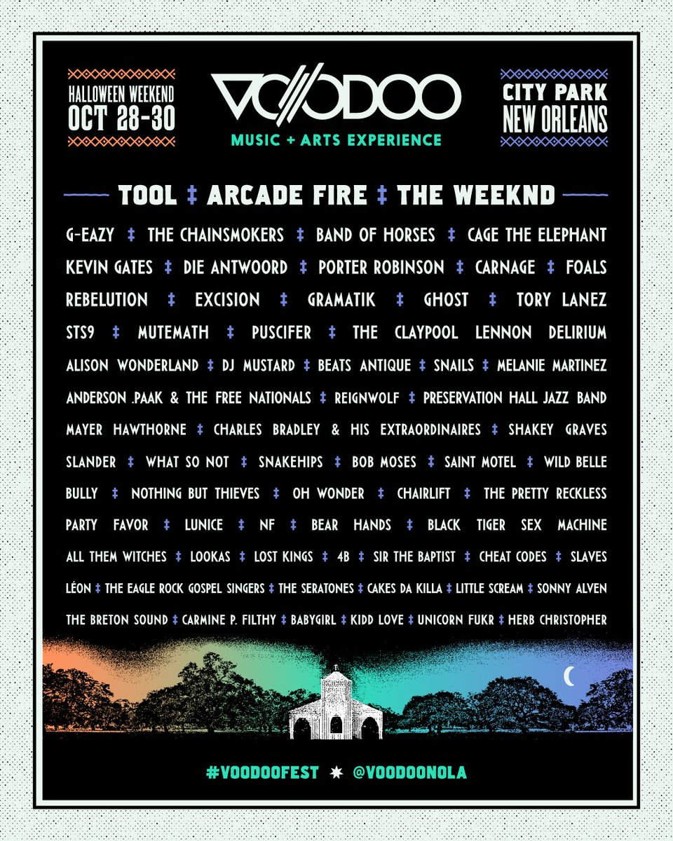 The 2016 Voodoo Music + Arts Experience Lineup is here! 3-Day Tickets go on sale at 10am CT. https://t.co/jdaeZZFhOI https://t.co/oOLOCvxRrk