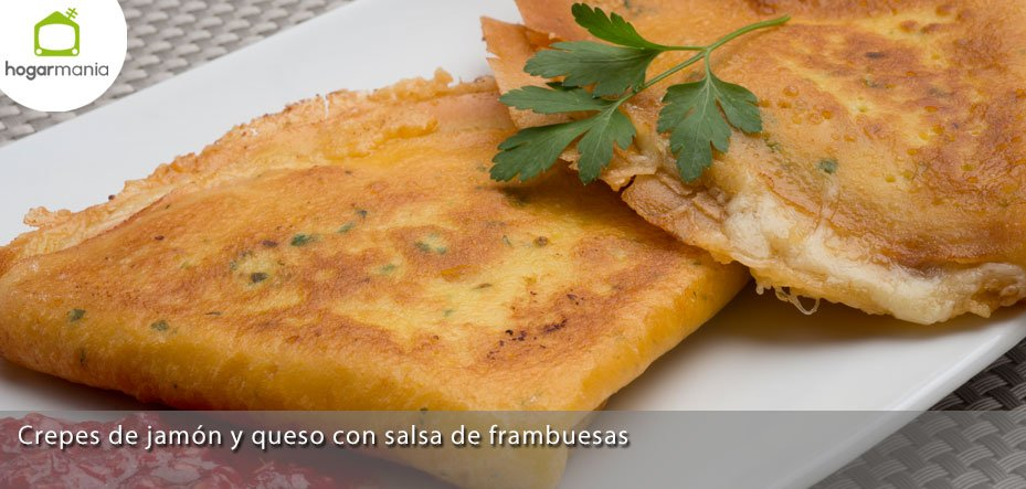 Receta de crepes de jam n y queso con salsa de frambuesas for Salsa para crepes