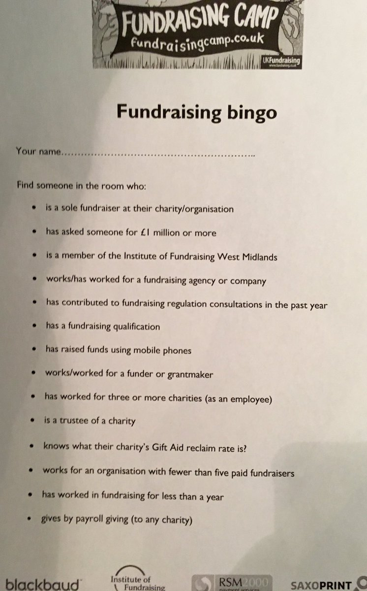 Nothing like a good old fashioned game of #bingo to break the ice! #fundraising #fundraisingcamp #icebreaker https://t.co/nI7KBXSooV