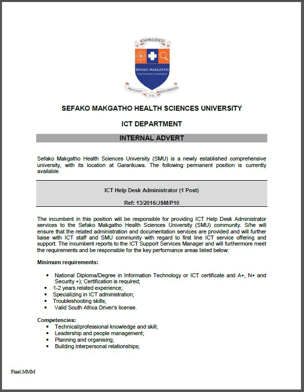 Ict Help Desk Administrator S Vacancy Smu Vacancies 2016 Click On Http Www Ac Za Php Pic Twitter 18vox9zpbf