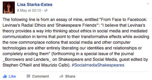 Levinas as way to read ethics in social media and its transformative effects @ShaxandApp #socialmediaShakespeares https://t.co/fv12uyHRD6