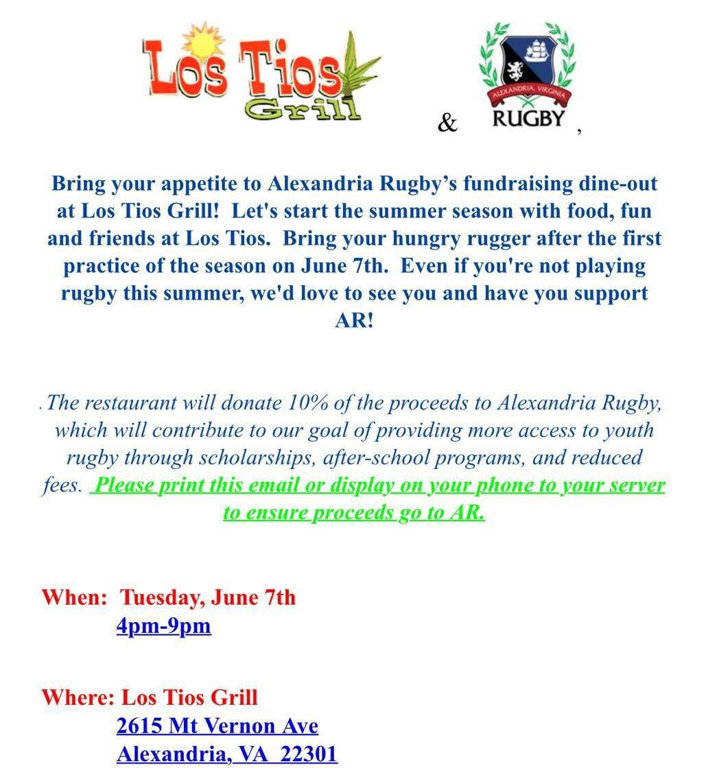 Support Alexandria Rugby at Los Tios in the Del Ray neighborhood of Alexandria, Virginia