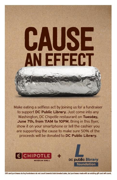Today only: show this image or mention us at any DC Chipotle and 50% of your purchase goes to support the library! https://t.co/Bz14Ub1JeI