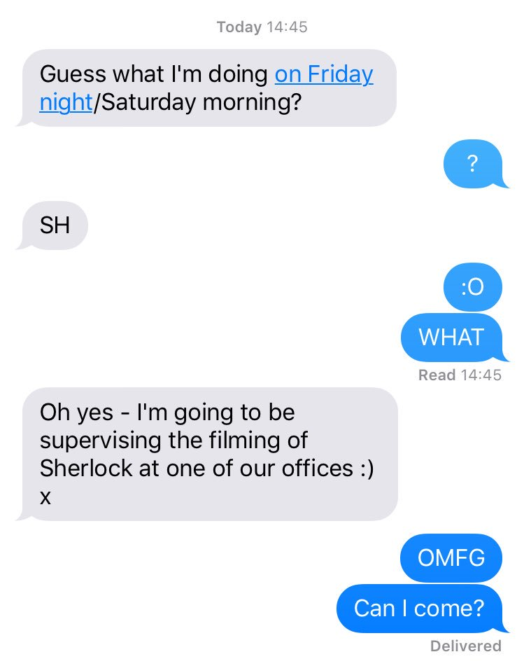 Just found out my mum is supervising #Sherlock filming 😱 Been told I can't go though 😭 https://t.co/fYLfcnkM0M