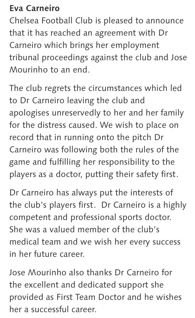 Complete victory for Eva Carneiro? Certainly reads that way from Chelsea's statement https://t.co/VVQYNzHRy1