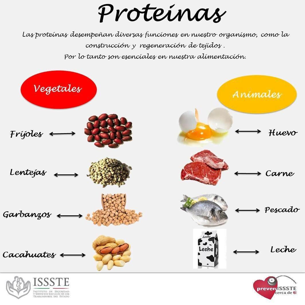 Ejemplos de alimentos con proteinas