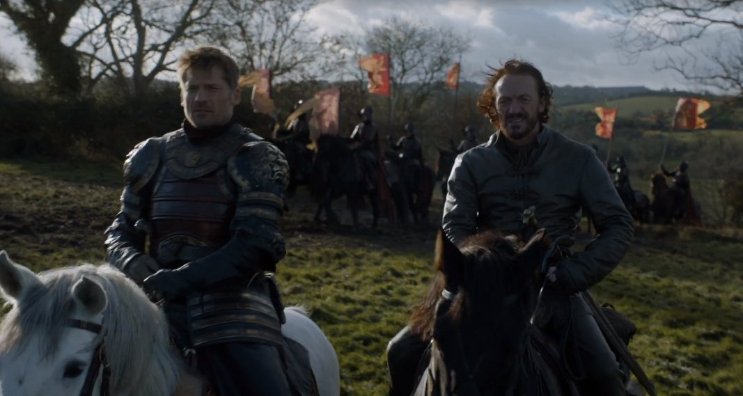 Over in the Riverlands, Jaime's taking an army to try to take-back Riverrun and Bronn is too old for this shit. https://t.co/syYk14tNts