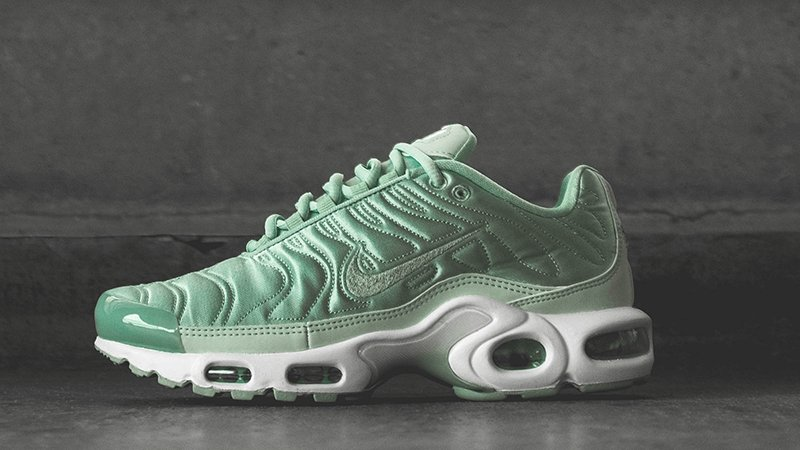 online store 91753 f75d6 The luxurious Nike Air Max Plus Satin Pack QS Enamel Green is also  available in Plum Fog. ...