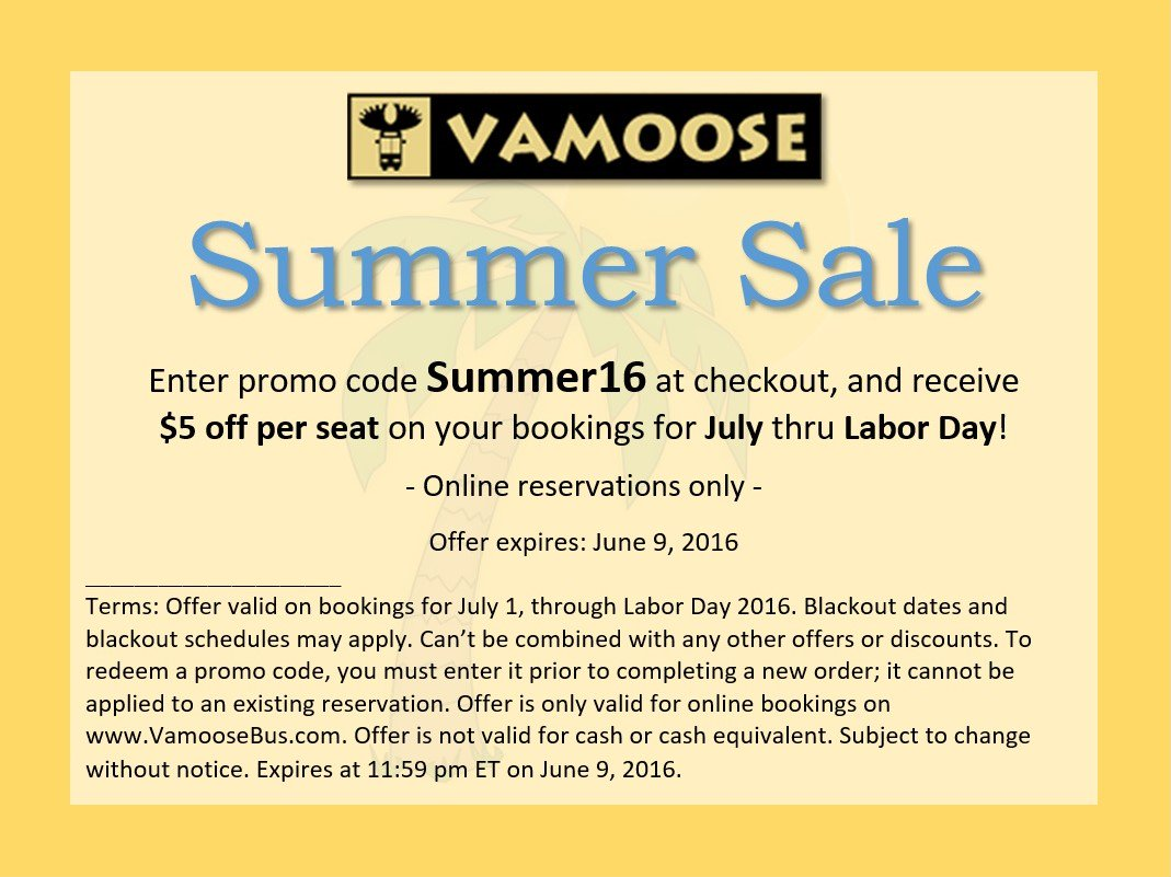 Nov 12,  · Vamoose Promotion Codes. Vamoose Bus formed in February to fill a hole in the market that you, all customer, identified. Vamoose Bus' motorcoach providers are proud of their safety records, receiving high safety ratings from the U.S. Department of Transportation.