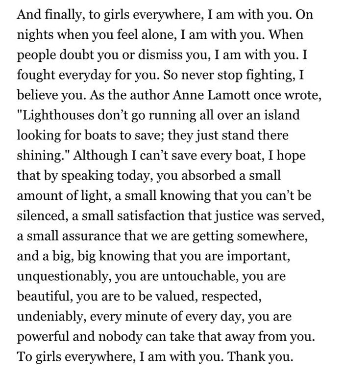 """Stanford rape survivor """"to girls everywhere"""" - closing paragraph of the letter she read to her attacker... https://t.co/zZfHlCMwpp"""
