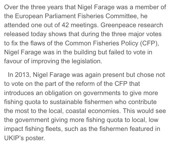 Farage, of course, failed to attend 41 out of the 42 meetings of the EU Fisheries Committee he was a member of… https://t.co/34543J47jc