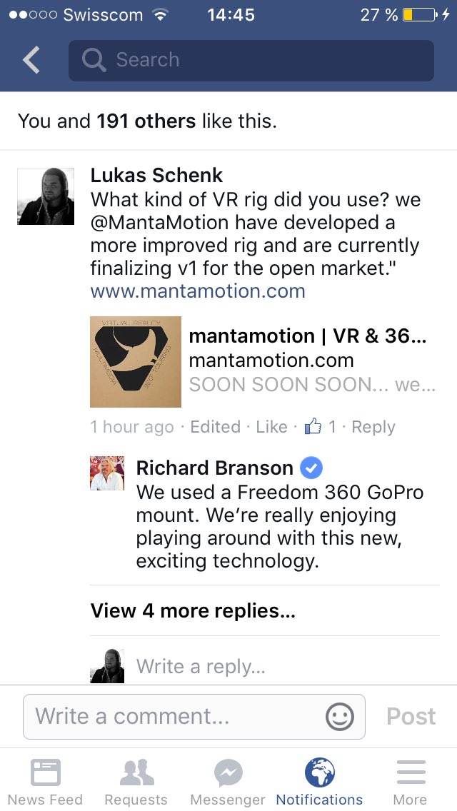 Wow @richardbranson is using VR technology now we need to get him to test our new @mantamotionpro 360 rig ;) https://t.co/Hl9dW2WtBh