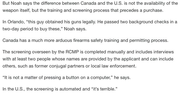 In Canada, AR-15s are also legal for purchase yet are rarely used in crimes. Here's one gun expert's opinion on why: https://t.co/P9wGleRq7y