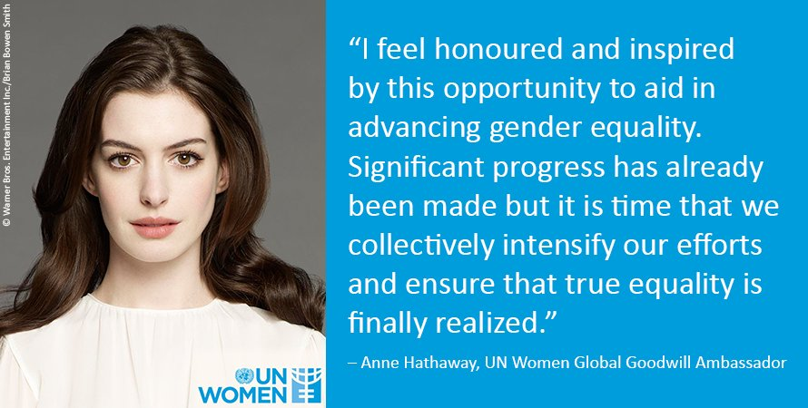 NEWS:Excited to announce Anne Hathaway as Goodwill Ambassador! Focus is on unpaid care work: https://t.co/kdE9Y5Tru7 https://t.co/lwOKcPFiKn