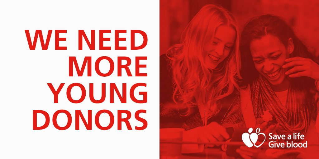 Around half our current donors are over 45. That's why we need more young people to start giving blood https://t.co/UopwKz8Dqr