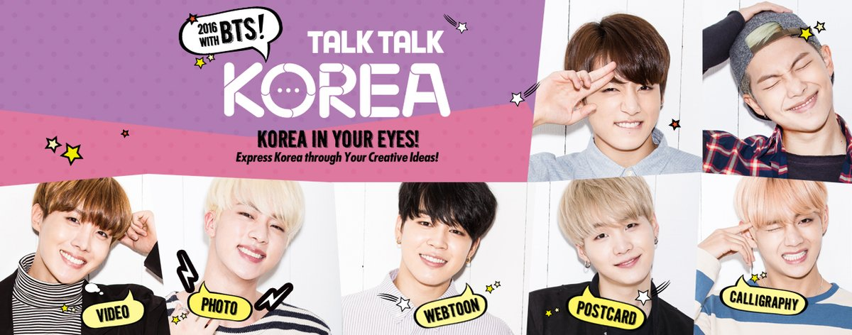 Talk! Talk! Korea 2016 With BTS! Show us what you think about Korea Deadline: 26 July 2016 https://t.co/Kn96F6N0gS https://t.co/wLOp3QtbyG