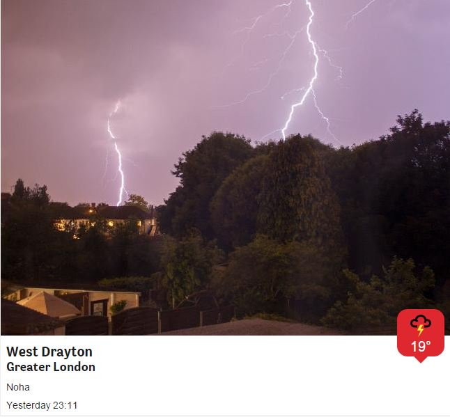 Good Morning, we had some amazing pic yesterday of the storms! Today much quieter. Still warm / sunny spells. 25C https://t.co/vnNo6BD89U