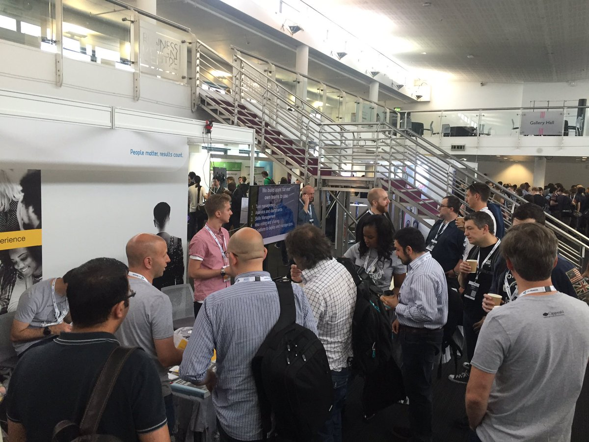 The stall is mobbed even before the opening keynote