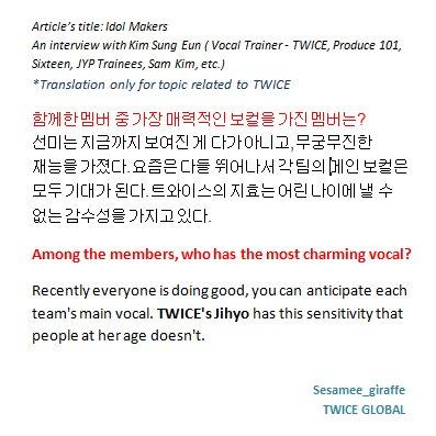 twice global on twitter eng trans kim sung eun mentioned jihyo