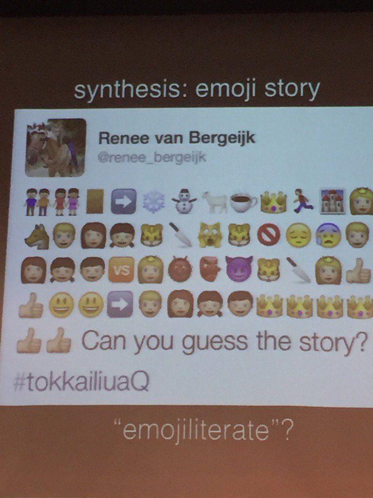 What story is being told with these emojis? #r2scms16 @amyburvall https://t.co/jXa6ryulqJ