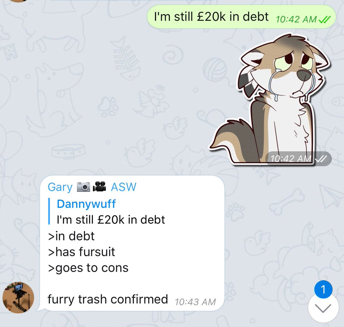 According to @ArcticSkyWolf I'm furry trash thanks to student finance xD ;-; https://t.co/Uspm6gReFi