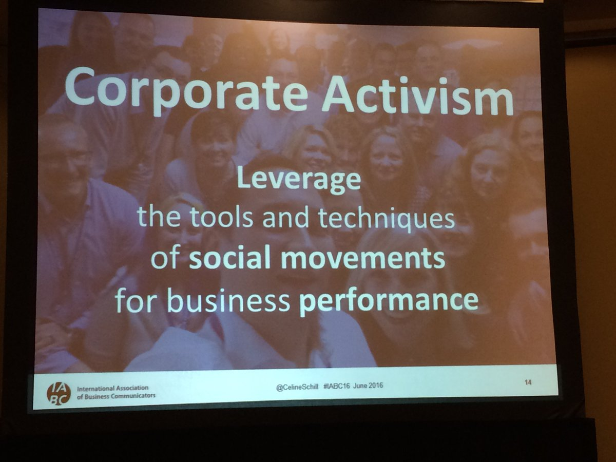 "Talking about ""going rogue"" and ""corp activism"" with @celineschill at #IABC16 https://t.co/e4sL9Qorua"