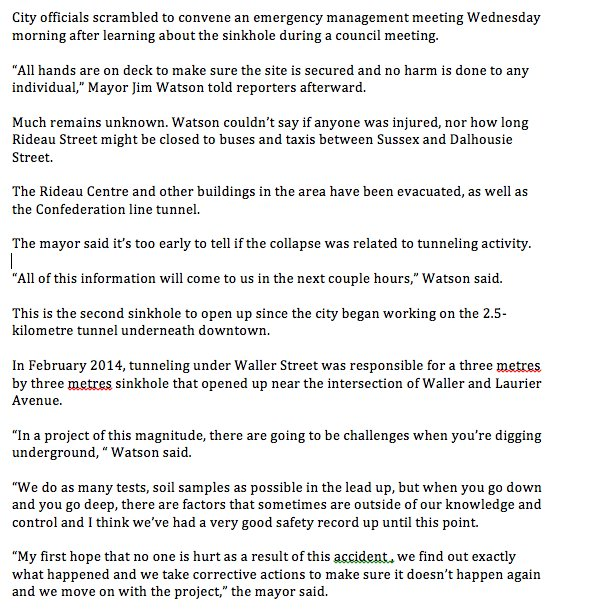 On the #Rideausinkhole, here are my notes from latest scrum with @JimWatsonOttawa #ottnews #ottpoli https://t.co/47rx38lzaT