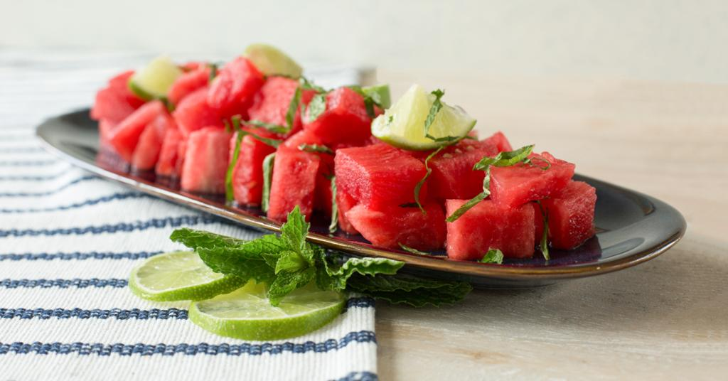 All you need is watermelon, mint, lime, & sea salt for this #EasyFancy 4-ingredient Minty Watermelon Salad!
