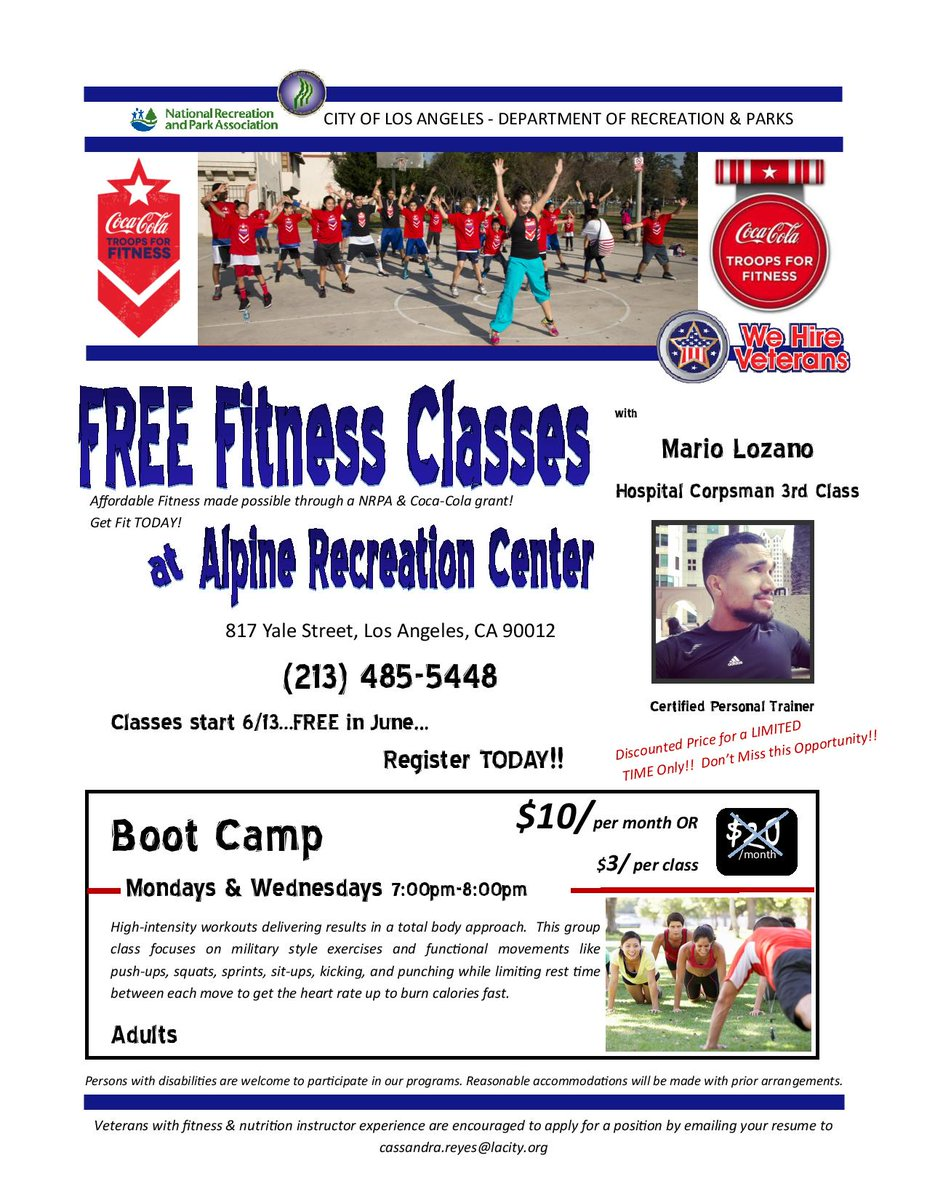 La City Rec Parks On Twitter Free Fitness Classes Bootcamp