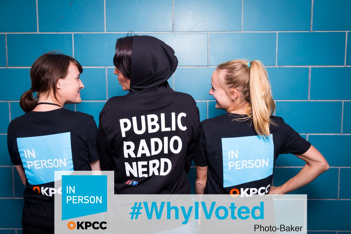 Another fun photo from yesterday's #WhyIVoted #PartyAtThePolls, where #pubradio nerds and @KPCC joined forces. https://t.co/6BhvGcQVnT