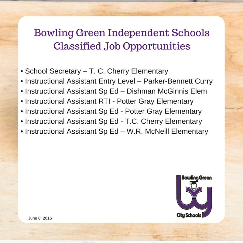 Bg City Schools On Twitter Classified Jobs In Bgisd For A