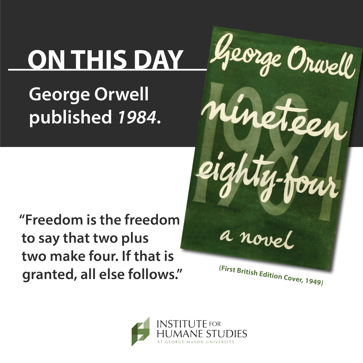 """June 8, 1949: George Orwell's dystopian novel, """"Nineteen Eighty-Four"""" is published in London. #OnThisDay https://t.co/1CWNUXGsc2"""