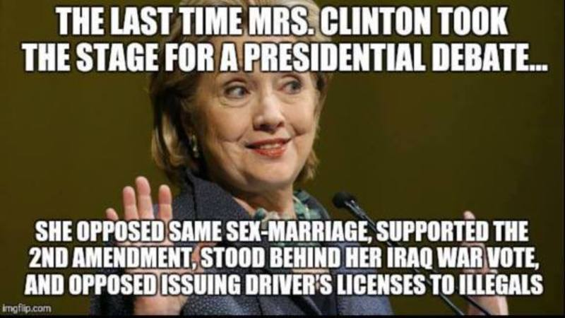 Image result for Hillary clinton Flip flop on LGBT
