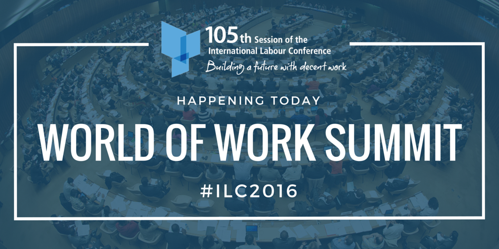 Today at the #ILC2016: World of Work Summit on Decent Jobs for Youth. Follow it live here: https://t.co/oXPEfJELis https://t.co/qaLmxSra9s