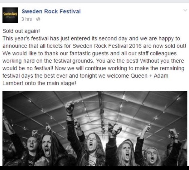 Official confirmation that Queen & Adam Lambert's show in Sweden is a sellout tonight via their FB https://t.co/8Ij4e0k9Gr