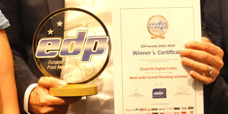"EDP awards new Zund D3 ""Best wide format finishing solution"" at drupa https://t.co/wa73GAIOV3 https://t.co/lmgcYOIglK"
