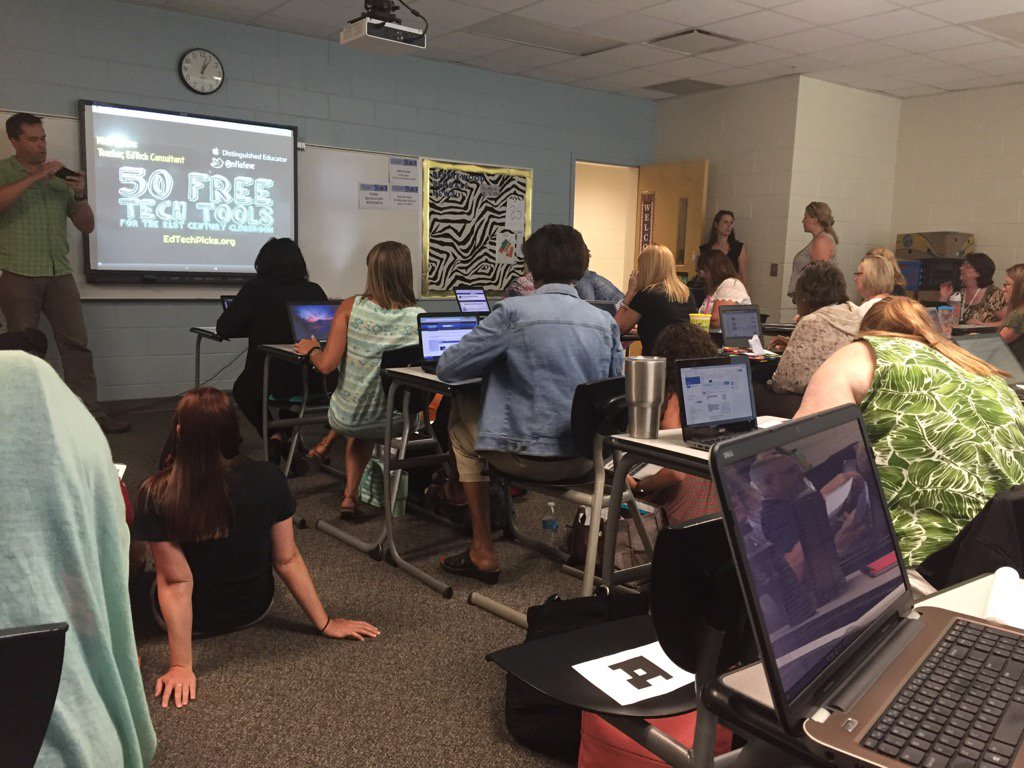 It's standing (& sitting on the floor) room only at @NFLaFave 's 50 Free Tech Tools session! #R2SCMS16 #edtech https://t.co/U2MDDKLYAp