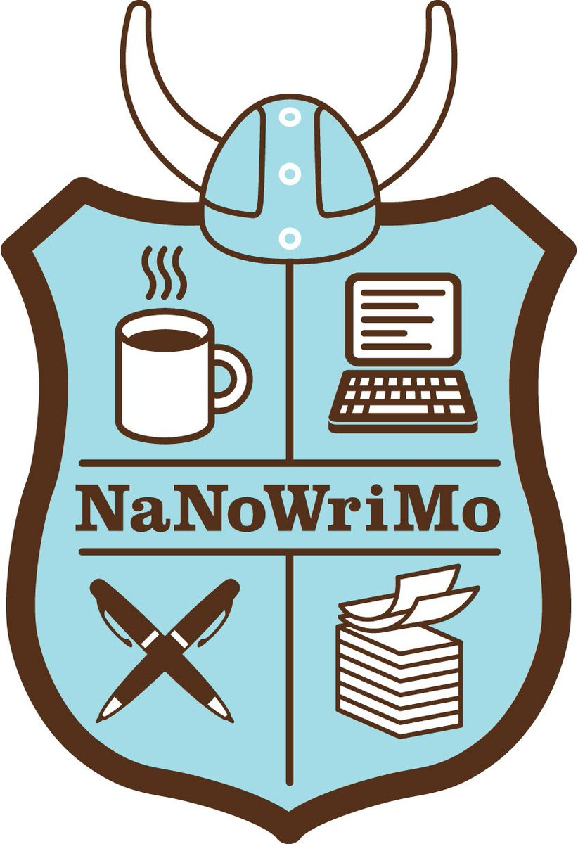 """NaNoWriMo on Twitter: """"Our logo (this one) is blue - which one are you  looking at with the green and orange?… """""""