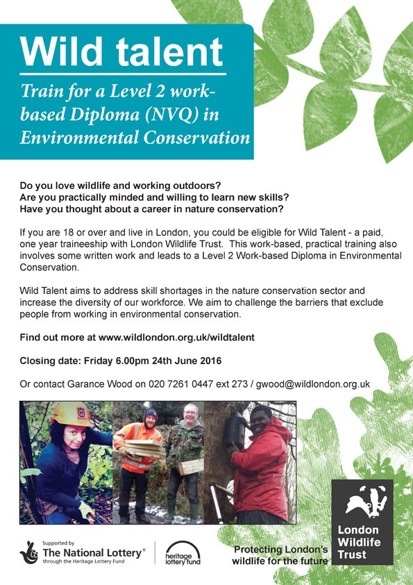 Wild Talent: Level 2 Diploma in Environmental Conservation By Sustainable Merton on June 10, 2016 Posted on: June 10, 2016   Author: Sustainable MertonCategories: News
