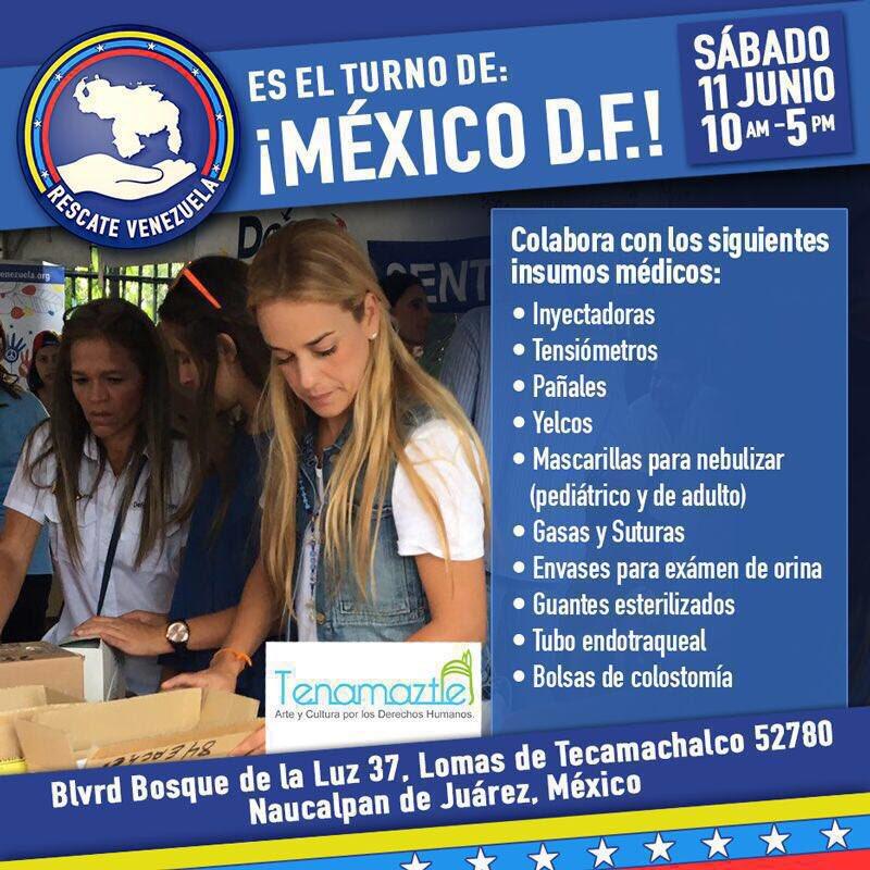 #Mexico y #Venezuela somos UNO Donativo de medicinas para #Venezuela . #RescateVenezuela Sáb 11/06 Tecamachalco #RT https://t.co/bpodtFtQ6O
